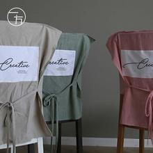北欧简cu纯棉餐intu家用布艺纯色椅背套餐厅网红日式椅罩