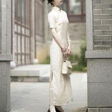 《知否cu否》两色绣yi长旗袍 复古改良中长式裙