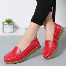 春季新cu女士红色豆co夏真皮软底学车专用练车鞋一脚蹬懒的鞋