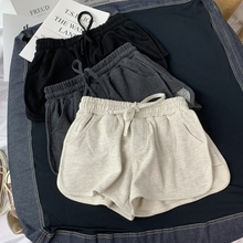 夏季新cu宽松显瘦热co款百搭纯棉休闲居家运动瑜伽短裤阔腿裤