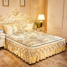 欧式冰cu三件套床裙to蕾丝空调软席可机洗脱卸床罩席1.8m