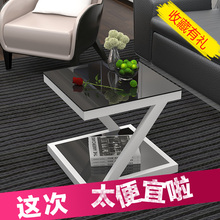 简约现cu边几钢化玻ce(小)迷你(小)方桌客厅边桌沙发边角几