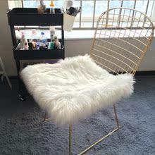白色仿cu毛方形圆形eh子镂空网红凳子座垫桌面装饰毛毛垫