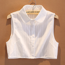 女春秋cu季纯棉方领eh搭假领衬衫装饰白色大码衬衣假领