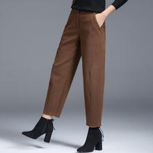 毛呢哈cu裤女秋冬加en老爹萝卜裤休闲裤子女奶奶裤新式