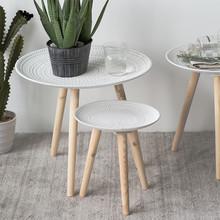 北欧(小)cu几现代简约ti几创意迷你桌子飘窗桌ins风实木腿圆桌