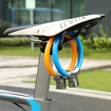 自行车cu盗钢缆锁山ie车便携迷你环形锁骑行环型车锁圈锁
