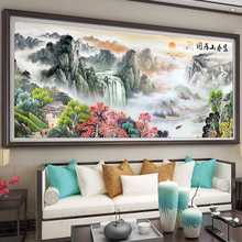 十字绣cv021新式zn厅大幅风景山水画富春山居图自己绣手工满绣