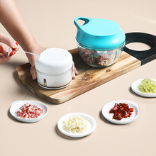 半房厨cw多功能碎菜cq家用手动绞肉机搅馅器蒜泥器手摇切菜器