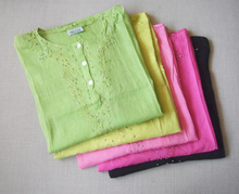 印度新cw褶皱服饰波st民族风刺绣果绿色休闲文艺范长衬衫女