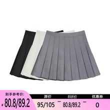 【限时cw5折】百褶wc021春新式风约会裙子高腰半身裙学生短裙