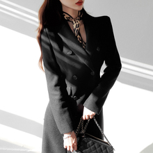 呢子大cy女士中长式li款修身显瘦职业纯色秋冬季冬天毛呢外套