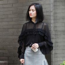 气质衬cy女长袖秋冬li众设计感上衣荷叶边衬衣立领雪纺衬衫女