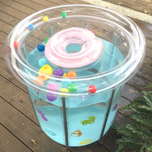 新生婴cy游泳池加厚ix气透明支架游泳桶(小)孩子家用沐浴洗澡桶