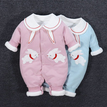 婴儿夹cy衣服连体衣ab宝宝公主春秋冬装满月薄棉外穿外出秋装