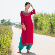 印度传cz服饰女民族bk日常纯棉刺绣服装薄西瓜红长式新品包邮