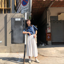 馨帮帮cz020夏季dw裙工装裙高腰显瘦垂感a型中长式白色半身裙