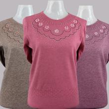春秋新d2毛线衣中年da套头圆领纯色薄式针织衫上衣