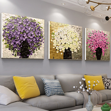 diyda字油画三联mo景花卉客厅大幅手绘填色画手工油彩