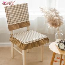 椅子椅da布艺加厚透dy电脑椅垫子家用餐桌椅椅垫凳子椅套