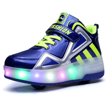 暴走鞋da童女孩秋冬de轮男童女童滑轮鞋带轮子的学生爆走鞋