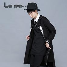 纳帕佳daP秋装新式ua帽长式风衣外套黑色百搭休闲上衣女式