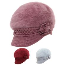 中老年da帽子女士冬ly连体妈妈毛线帽老的奶奶老太太冬季保暖