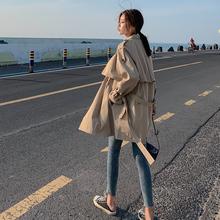 风衣女2021春季新da7(小)个子韩ly生短卡其色中长式外套女春秋