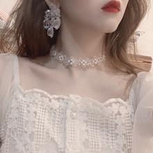 insda约仙气水晶ha链 短式锁骨链颈链发带蕾丝系带两用配饰女