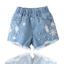 女童洋da牛仔短裤2ha新式夏装薄式中大宝宝女孩外穿夏季童装裤子
