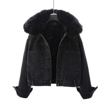 女短式da020新式fu款真毛领加绒加厚宽松棉衣外套黑色