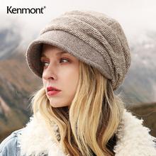 卡蒙时da韩款水钻英li帽女冬天百搭加绒毛线针织帽可爱堆堆帽