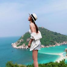 沙滩帽da巴拿马草帽eh夏网红海边海滩帽大檐旅行白色防晒帽子