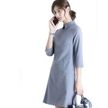 OFFdaY七分袖气eh蓝羊毛方领口袋A字修身OL通勤正式职业连衣裙