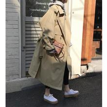 卡其色da衣女春装新at双排扣宽松长式外套收腰系带薄式大衣潮