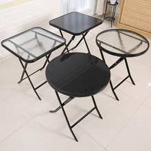 钢化玻da厨房餐桌奶at台(小)茶几圆桌家用(小)方桌子