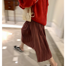 落落狷da高腰修身百te雅中长式春季红色格子半身裙女春秋裙子