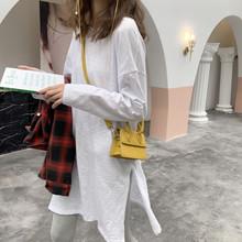 韩款2da20年春秋yb长袖宽松竹节棉白色t恤女中长式内搭打底衫