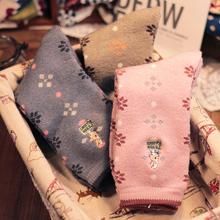 外贸加da保暖女生长ng爱卡通兔子毛巾袜 冬季毛圈纯棉中筒袜