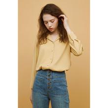2021春季新式 da6黄色法式ks衬衫珍珠单排扣纯色V领上衣女