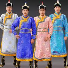 新式蒙da服装男士传is蒙古袍锦缎少数民族舞蹈舞台表演出服男