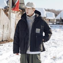 冬季工da风黑色白鸭is男士连帽面包服潮流宽松保暖外套