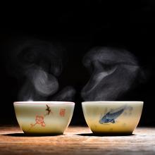 手绘陶da功夫茶杯主te品茗单杯(小)杯子景德镇青花瓷永利汇茶具