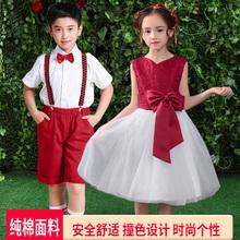 少儿朗da表演服装中lh童演出服女童礼服(小)主持的