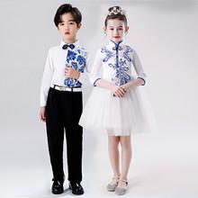 宝宝青da瓷演出服中lh学生大合唱团男童主持的诗歌朗诵表演服