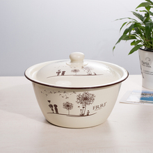 搪瓷盆da盖厨房饺子sh搪瓷碗带盖老式怀旧加厚猪油盆汤盆家用