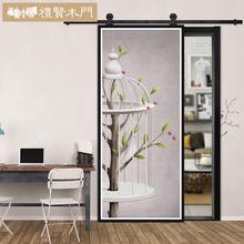 创意彩雕门定制美式实木谷