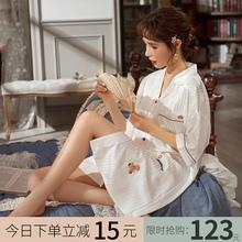 马克公da睡裙女20sm式冰丝薄式夏天白色性感洋气衬衫睡衣裙子