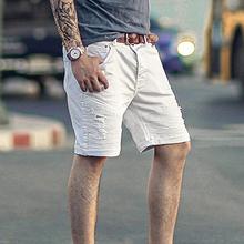 五分裤微弹力男dc4机车牛仔gs款牛仔中裤 夏天白色牛仔裤K771