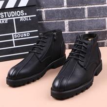 秋冬英dc靴子男士高xp时尚潮流厚底尖头马丁靴内增高休闲男靴